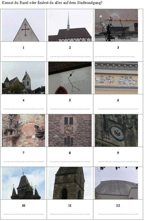 Zwölf Ausschnitte von Bilder von Gebäuden, Orten und Wahrzeichen in Basel zum Erraten