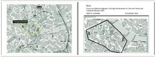 Karte und Quizz zur Stadtführungen Basel