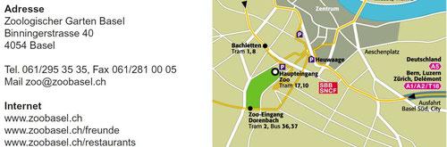 Lageplan vom Zoo Basel mit Kontaktdaten