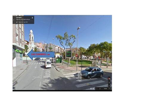 Avenida de Murcia frente a Iglesia Parroquial giramos a Calle del Carmen