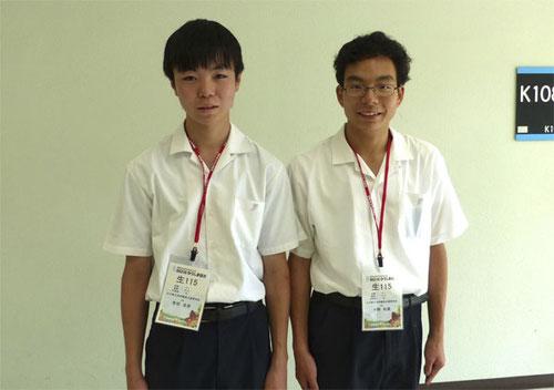 左から 有田圭吾くん(2年)、小野和真くん(2年)