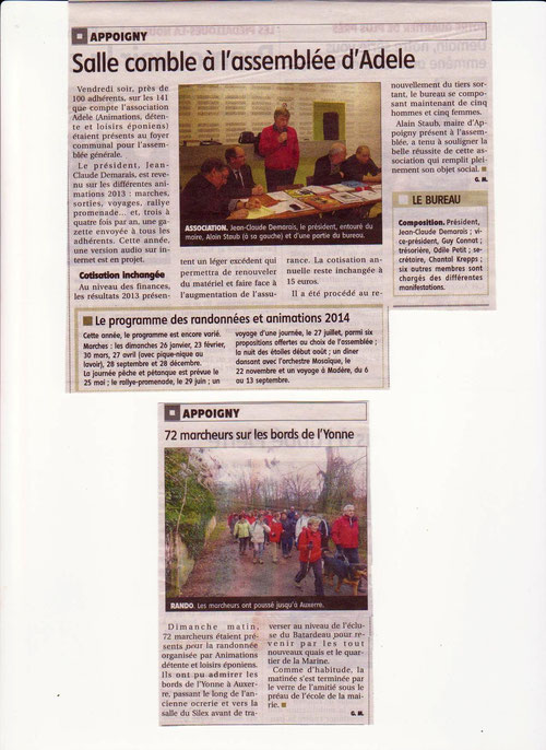 ag du 24 et marche AUXERRE du 26 janvier 2014