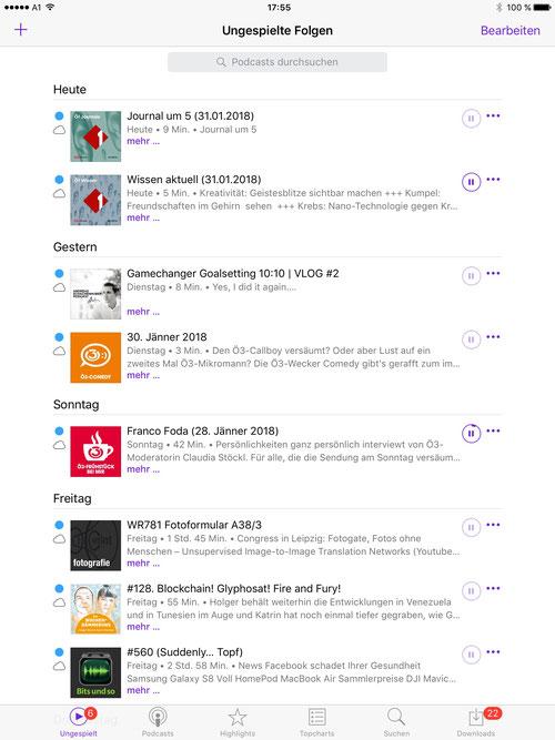 Bildschirmfoto von der Podcast App auf einem iPad mit iOS10: Unter iOS10 ist die Welt noch in Ordnung: Alle Podcasts werden in zeitlicher Reihenfolge angezeigt und sind in einer Liste verwaltbar.