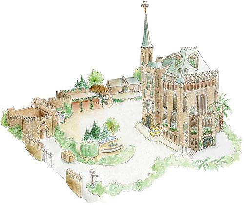 архитектура Гауди, здания Гауди,замок Беллесгуард