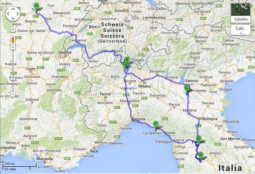 Itinéraire Dijon/ Toscane 2 (CLIQUEZ SUR LA CARTE POUR L'AGRANDIR)