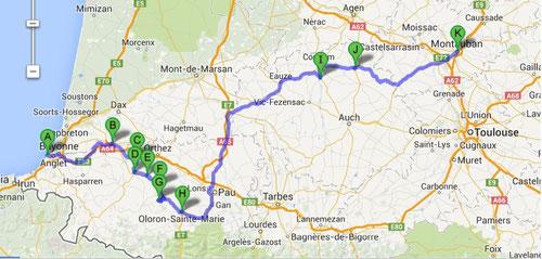 Itinéraire RETOUR Aquitaine (Montauban/Dijon dito Aller)