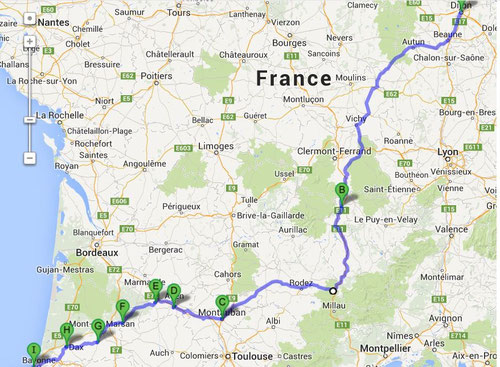 Itinéraire Aller Aquitaine