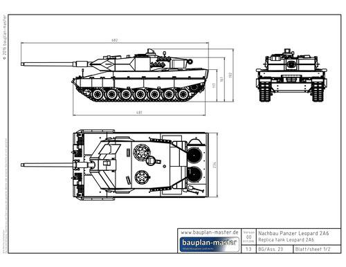 Modellbauplan Leopard 2A6 im Maßstab 1:16 - bauplan-master