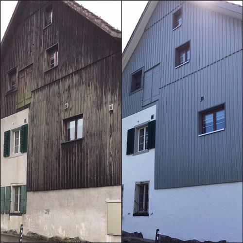 Fassadenrenovation vorher und nachher