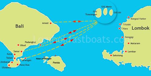 Rotta delle Speedboat per le Isole Gili