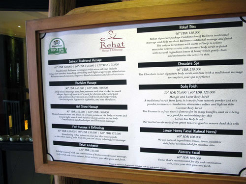 Price list Spa Rehat in Legian - Bali (Photo by Gabriele Ferrando)