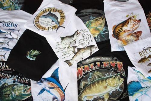 tee-shirt sur la pêche