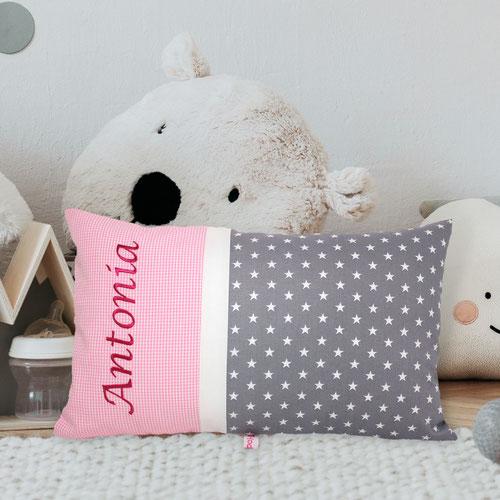 Namenskissen rosa grau Sterne Geburtsgeschenke