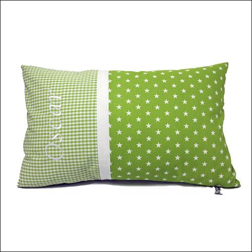 Namenskissen grün weiß Sterne personalisierbar