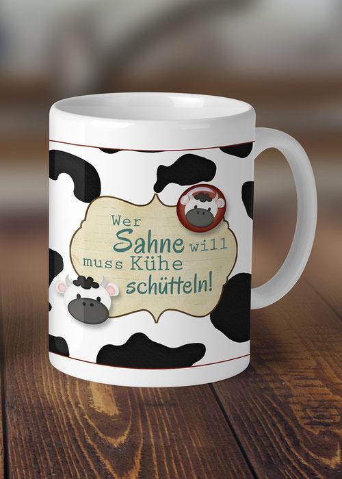 bedruckte Tasse Kühe schütteln Wohndeko