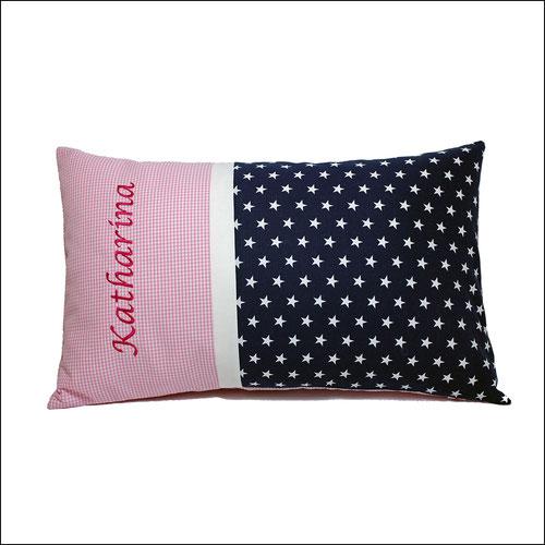 Kissen mit Name in dunkelblau und rosa