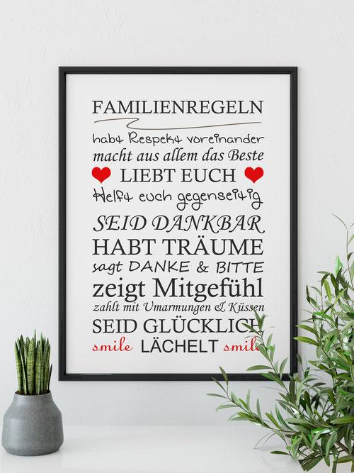 Kunstdruck Wanddeko Familienregeln
