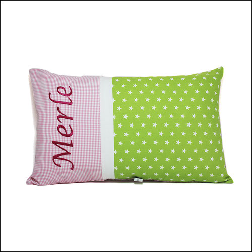 Kissen mit Name in grün rosa Sterne