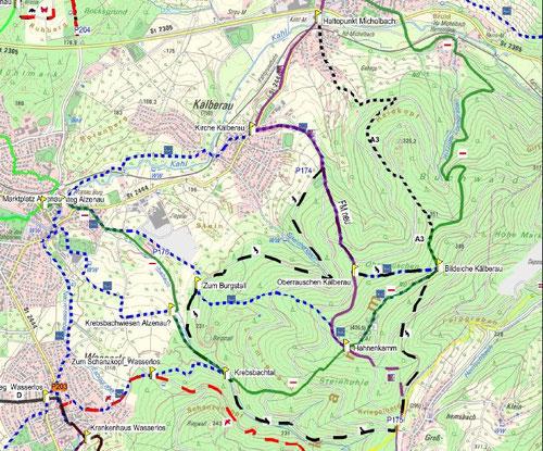 Wanderwege rund um den Hahnenkamm ©Freigerichter Bund e.V. -  Zum vergrößern Karte anklicken.