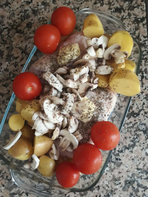 Poulet aux legumes et pommes de terre