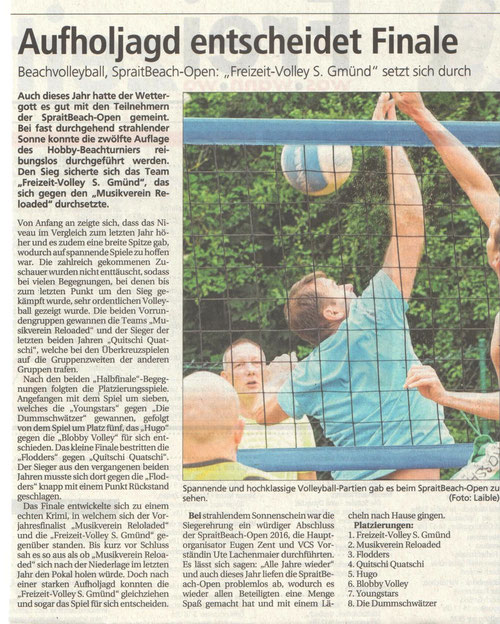 Zeitungsartikel der Gmünder Tageszeitung vom 29.06.2016