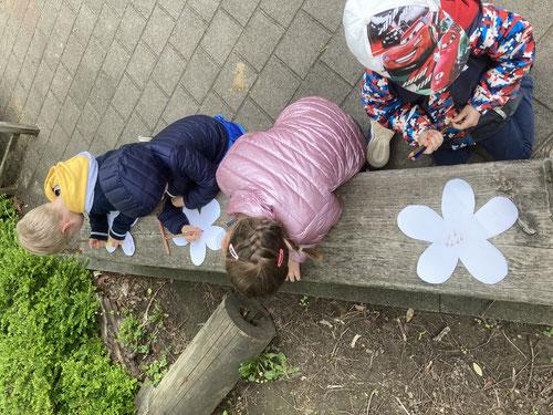 Staubgefäße in die Blüten zeichnen.                       Foto: Barbara Steinrück
