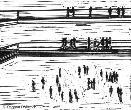 Druckgrafik, Titel: Schlittschuhläufer, Technik: Linolschnitt, Künstler: Dagmar Dölitzsch