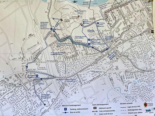 Planche de synthèse de l'étude de circulation présentée le 12 mai aux Évaux. Cliquez sur l'image pour l'agrandir.