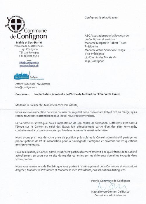 Courrier de la conseillère administrative Nathalie von Gunten-dal Busco du 26 août 2020