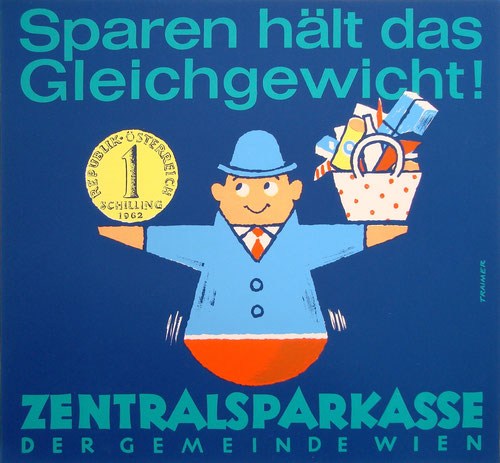 Sparkassenplakat der Zentrasparkasse der Gemeinde Wien. Sparkassenwerbung um 1960.