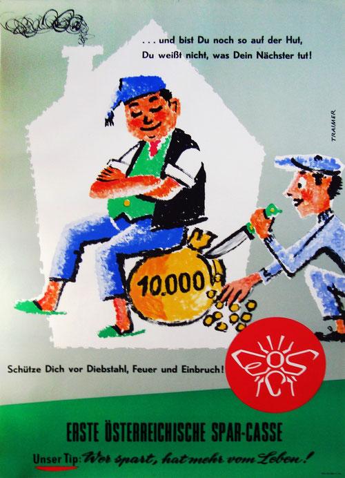 Erste Oesterreichische Sparkasse. Plakat-Werbung von 1958.