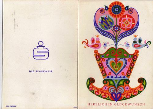 """""""Herzlichen Glückwunsch"""" Geldgeschenk-Umschlag für Eltern (verwendet ab 1967). Sparkassen Österreich."""