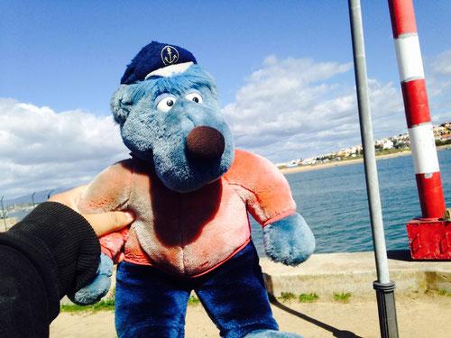Heute mit dem Rad am Hafen unterwegs gewesen. Da sitzt dann plötzlich der echte Käpt'n Blaubär in einem Auto. Er steigt für unser Foto mit unserem Käpt'n aus und posiert an der Waterkant! Ganz hinten am Horizont der blaue Punkt ist übrigens der Bus. 😄