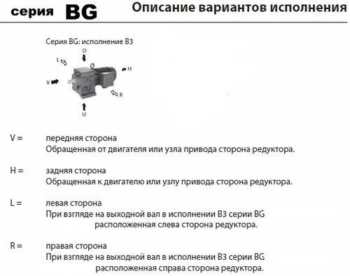 Варианты исполнения цилиндрических мотор-редукторов BG  (Bauer)