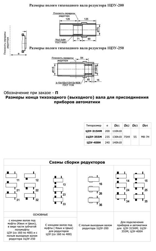 Схемы сборки редукторов Ц3У