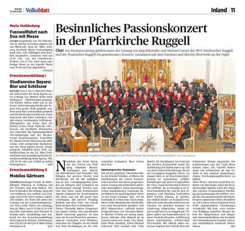 Lokalzeitung Volksblatt, 23. März 2015