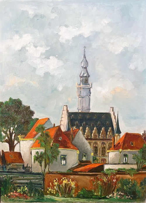 Veere, Stadhuis gezien vanaf Oranjeplein