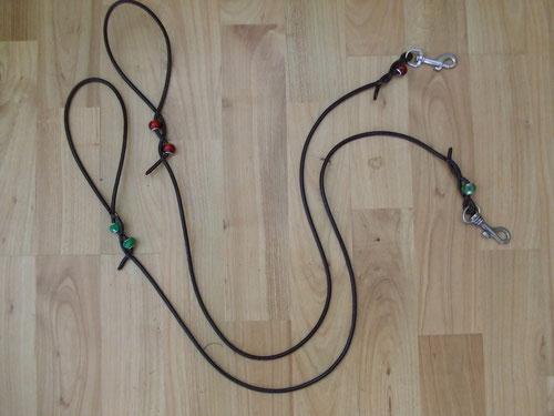 Rund-Lederleine mit Perlen