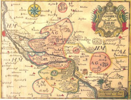 historische Karte Amt Gommern und Grafschaft Barby