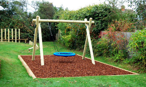 Bark and wood chipings both make safe and attractive play surfaces