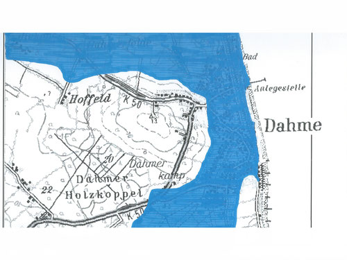 Überschwemmtes Gebiet während der Sturmflut 1872 in Dahme