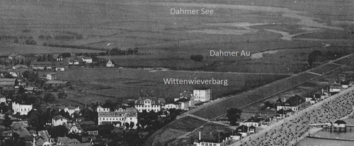 Auf einem Luftbild von 1925 ist noch die ringförmige Wallanlage in der Mitte des Bildes zu erkennen.