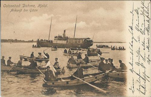 Ausbooten von Gästen 1905 (AK: J. Paustian)