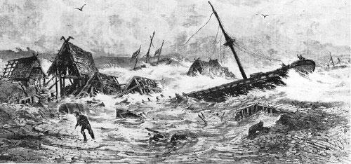Sturmflut 1872 (Zeichnung: C. Rettich und C. Heyn)