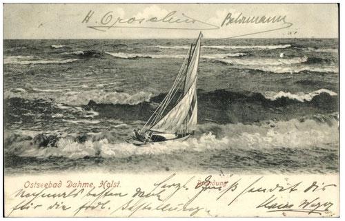 Segelschiff in stürmischer See vor Dahme 1907