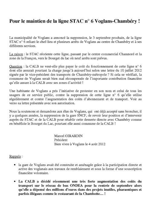 FEUILLET DISTRIBUE LE 4 AOUT 2012 DANS LE CENTRE DE VOGLANS