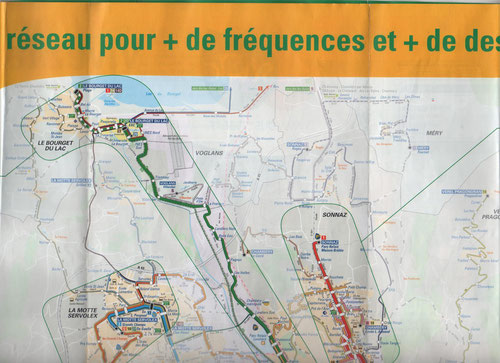 Plan du réseau STAC ( Chambéry-Métropole ) au 3 septembre 2012