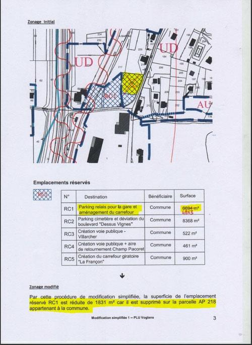 Modification récente du PLU pour déclasser cette parcelle communale d'un emplacement de parking relais