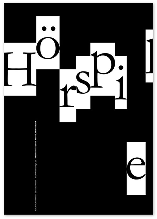 graphic design: Kristina Wiessner, chamber music festival, notes, piano, black and white
