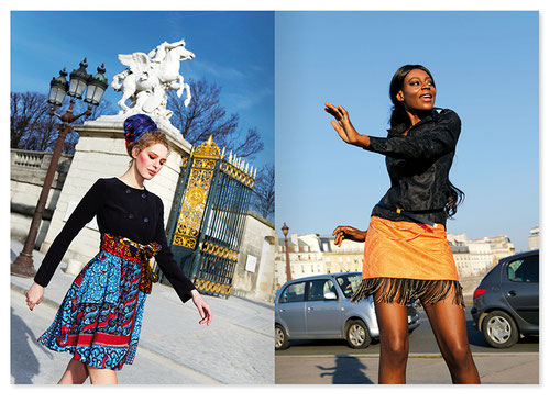 fashion label: TCHARAKOURA,  fashion designer: Chantal Ali-Kéké Roland-Valmy, fashion photographer: Patrice van Malder, layout: Kristina Wiessner,  Model: Margarita Svegzdaite, fashion catalogue, fashion photography, african fabric, photo shoot in Paris